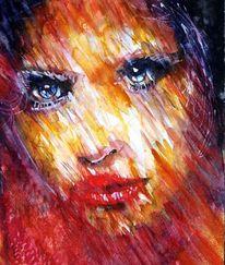Aquarellmalerei, Portrait, Farben, Blick