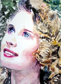 Aquarellmalerei, Blond, Blaue augen, Gesicht