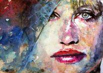 Frau, Farben, Geheimnisvoll, Blick