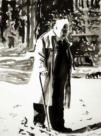 Monochrom, Portrait, Licht, Schwarz weiß