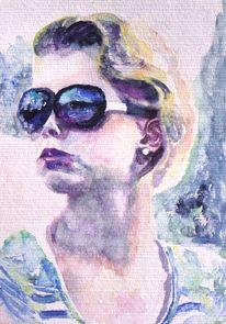 Gesicht, Mädchen, Aquarellmalerei, Brille