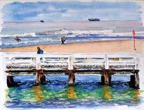 Strand, Aquarellmalerei, Seebrücke, Belgien