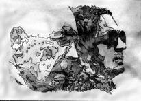 Grafit, Monochrom, Frau, Schwarz weiß