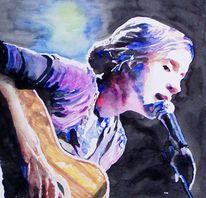Sängerin, Portrait, Frau, Aquarellmalerei
