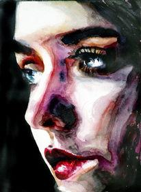 Aquarellmalerei, Frau, Blick, Gesicht