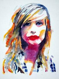 Portrait, Mädchen, Farben, Frau