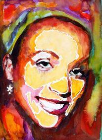 Lachen, Gesicht, Aquarellmalerei, Frau