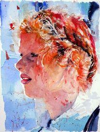 Blick, Ausdruck, Profil, Aquarellmalerei