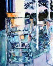 Spiegelung, Glas, Aquarellmalerei, Wasser