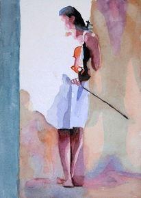 Violine, Licht, Aquarellmalerei, Geige