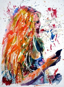 Aquarellmalerei, Smartphone, Frau, Mädchen