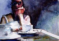 Tasse, Mann, Kaffee, Dunkel