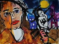 Expressionismus, Comic, Menschen, Gesicht