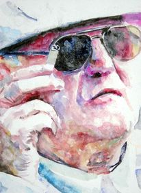 Mann, Zigarre, Ausdruck, Aquarellmalerei