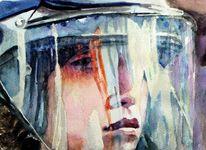 Helm, Gesicht, Aquarellmalerei, Portrait