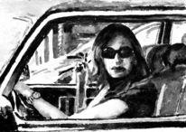 Frau, Monochrom, Auto, Aquarellmalerei