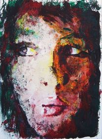 Portrait, Farben kontrast, Frau, Aquarellmalerei