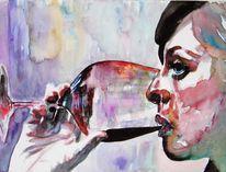Blick, Wein, Aquarellmalerei, Glas