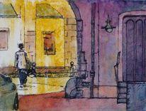 Straße, Aquarellmalerei, Licht, Frau