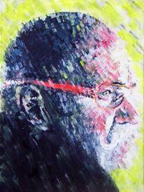 Brille, Mann, Portrait, Acrylmalerei