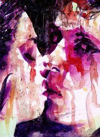 Blick, Aquarellmalerei, Paar, Frau