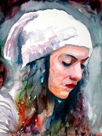 Frau, Mütze, Portrait, Ausdruck