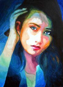 Blick, Ausdruck, Farben, Frau