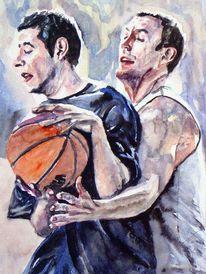 Sport, Mann, Ball, Aquarellmalerei