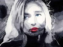 Monochrom, Blick, Lippen, Aquarellmalerei