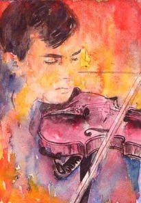 Musik, Aquarellmalerei, Versinken, Violine