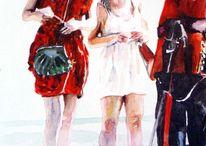 Bein, Frau, Wachmann, Aquarellmalerei