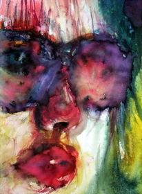 Aquarellmalerei, Menschen, Brille, Frau