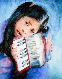 Akkordeon, Musik, Aquarellmalerei, Mädchen