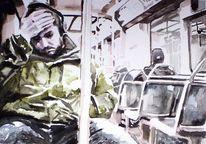 Mann, Aquarellmalerei, Bus, Bahn