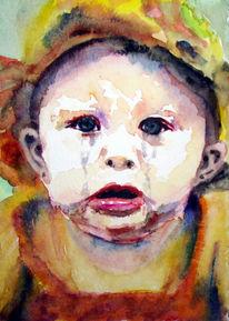 Baby, Portrait, Lage, Aquarellmalerei