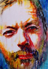 Gesicht, Farben, Mann, Aquarellmalerei