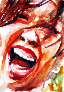 Portrait, Mund, Aquarellmalerei, Frau