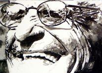 Mann, Brille, Monochrom, Aquarellmalerei
