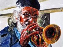 Trompete, Musik, Aquarellmalerei, Portrait