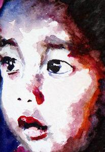 Aquarellmalerei, Portrait, Augen, Junge