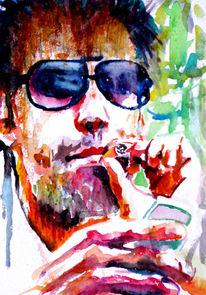 Aquarellmalerei, Handy, Portrait, Kippe