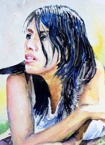 Sonne, Portrait, Frau, Aquarellmalerei