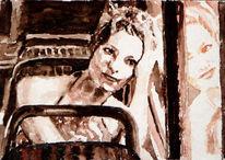 Spiegel, Aquarellmalerei, Bus, Frau