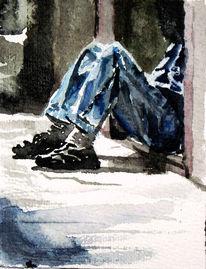 Aquarellmalerei, Jeans, Bein, Schatten