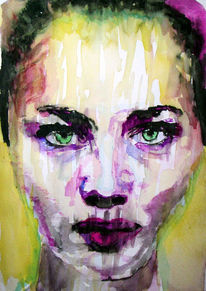 Gesicht, Aquarellmalerei, Lage, Portrait