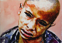 Junge, Aquarellmalerei, Armut, Leid