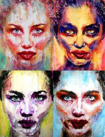 Portrait, Mund, Frau, Lippen