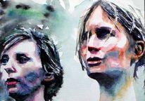 Gesicht, Ausdruck, Aquarellmalerei, Frau