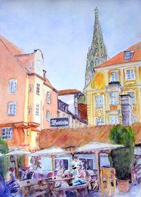 Aquarellmalerei, Stadt, Haus, Wurstküche