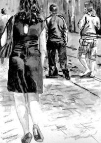 Monochrom, Schwarz weiß, Aquarellmalerei, Frau